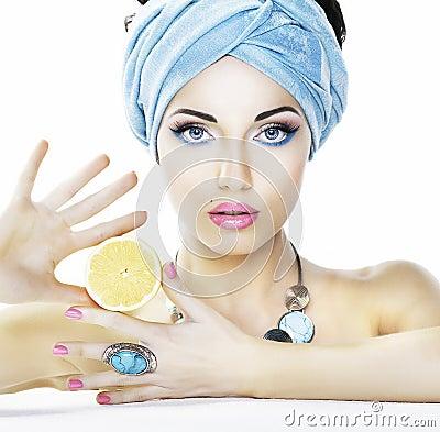 Nutrition. Beauty woman, lemon - heailh care
