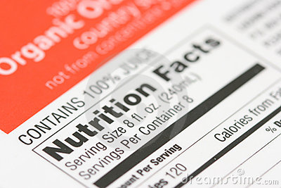 Nutrition facts from a box of