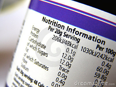 Nutrition information on label