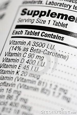 Nutritional Content Label