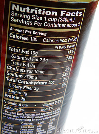 Nutritional label on can
