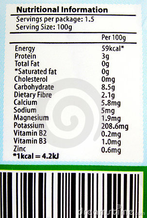 Free Nutritional Label Info Royalty Free Stock Photos - 6934948