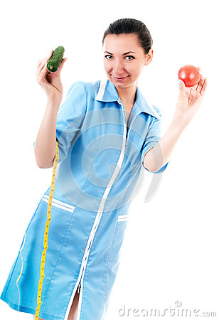 Nutritionist with vegetables