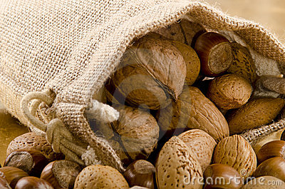 nuts in a brown jute bag