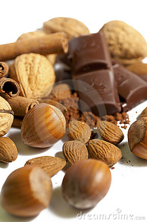 Nuts, chocolate and almonds