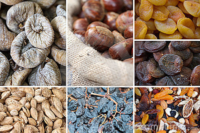 Nuts and dried fruits collage