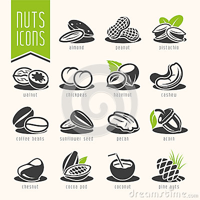 Free Nuts Icon Set Stock Photography - 47460882