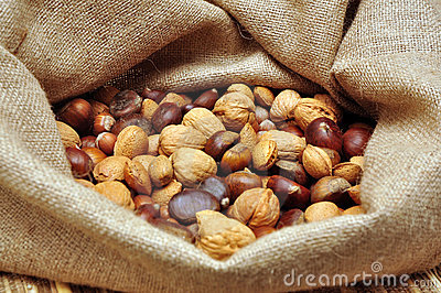 Nuts in jute bag