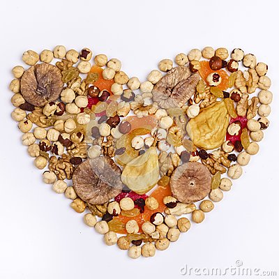Free Nuts Mix And Dried Fruits In Heart Shape On White Background Top View Square Stock Photos - 106279403