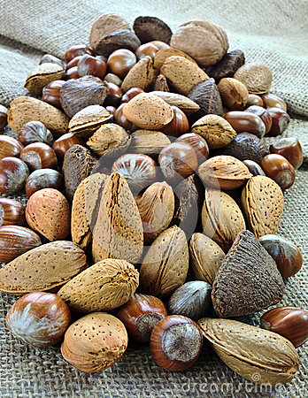 Free Nuts On Jute Surface Stock Photography - 28384052