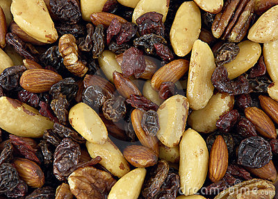 Nuts, raisins, figs, almonds