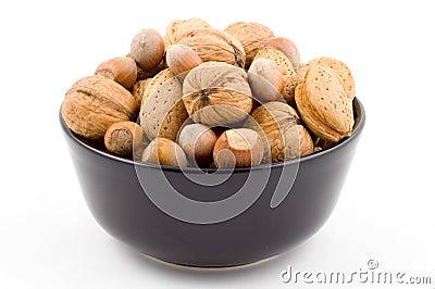 Nuts, walnuts, hazelnuts, almonds