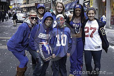 NY Giants fans celebrates Super Bowl win Editorial Stock Photo