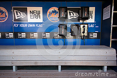 NY Mets Dugout Editorial Stock Photo