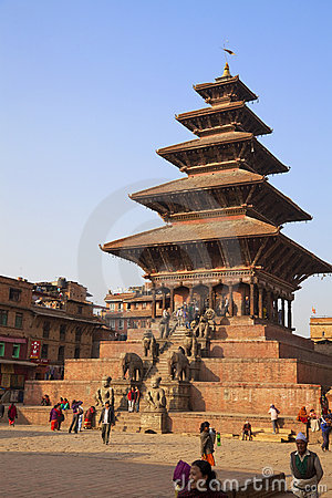Nyatapola Temple, Bhaktapur Durbar Square, Nepal Editorial Stock Photo