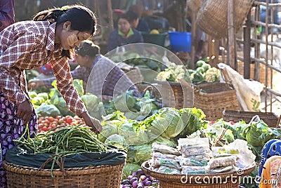 Nyaung-U Market, Myanmar Editorial Photo
