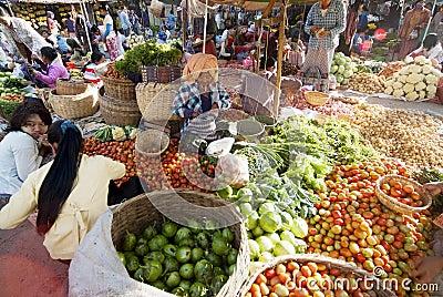 Nyaung-U Market, Myanmar Editorial Image