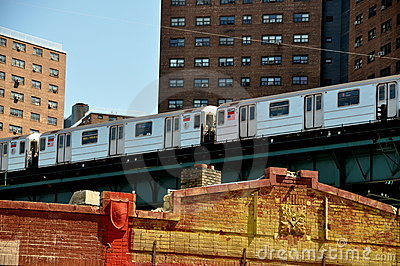 NYC: #1 Broadway Line Subway Train Editorial Image
