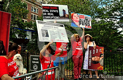 NYC: Anti-Christine Quinn Demonstrators at a Political Rally Editorial Stock Photo
