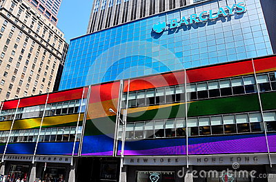 NYC: Barclays Bank with Rainbow Flag Colours Editorial Photo