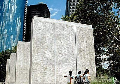 NYC: Battery Park War Memorials Editorial Stock Photo