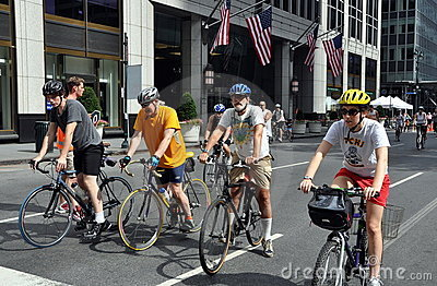 NYC: Bicyclists Wearing Helmets Editorial Photography