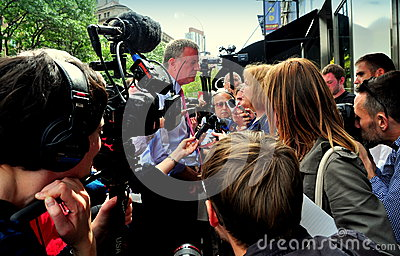 NYC: Bill DeBlasio Campaigning on Upper West Side Editorial Stock Image