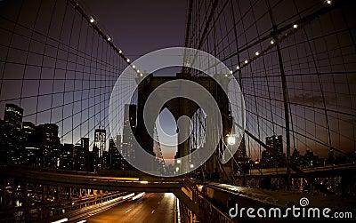 NYC Brooklyn bridge at night
