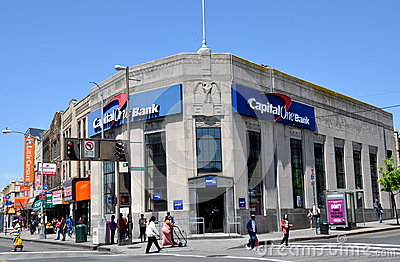 NYC: Capital One Bank in Queens Editorial Photo
