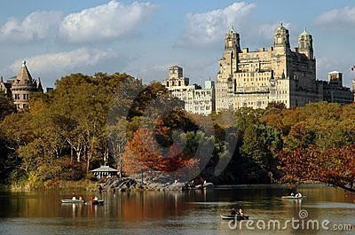 NYC: Central Park Boating Lake & Beresford Apts Editorial Stock Photo