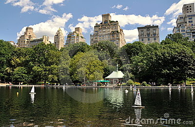 NYC: Central Park Sailboat Pond Editorial Image