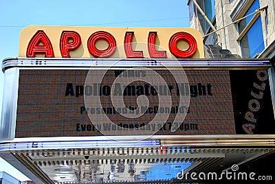 NYC : Chapiteau de théâtre d Apollo Image stock éditorial