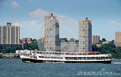 NYC: Circle Line Ferry Boat on Hudson River Editorial Image