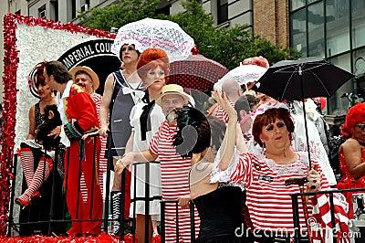 NYC: Colourful Float Riders at Gay Pride Parade Editorial Image