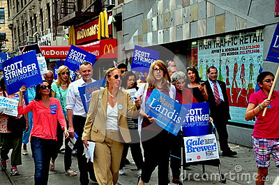 NYC: Council Woman Gale Brewer Campaigning Editorial Stock Image