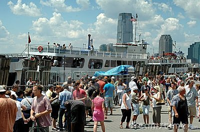 NYC: Crowds in Battery Park Editorial Photo