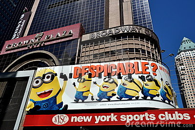 NYC: Despicable Movie Times Sq Billboard Editorial Photography