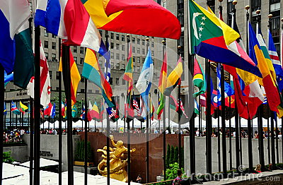 NYC: Flags at Rockefeller Center Editorial Stock Image