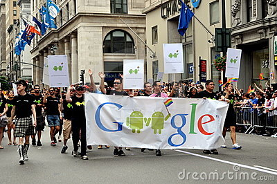 NYC: Google Marchers at Gay Pride Parade Editorial Stock Photo