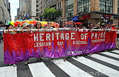 NYC: Heritage of Pride Banner at Gay Pride Parade Editorial Photography