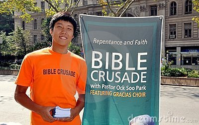 NYC: Korean Youth Promoting Bible Crusade Editorial Photo