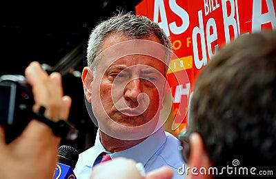 NYC: Leading Mayoral Candidate Bill DeBlasio Editorial Photo