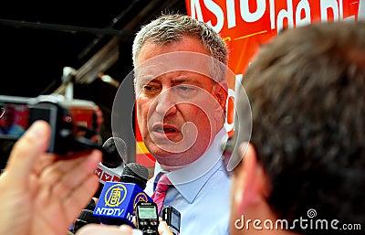NYC: Leading Mayoral Candidate Bill DeBlasio Editorial Image