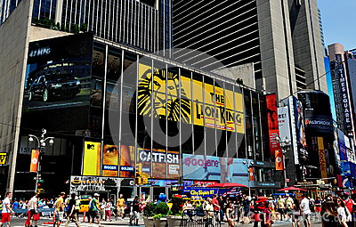NYC:  Lion King Billboard in Times Square Editorial Photo