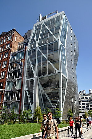 NYC: Modern Apt. Bldg. at the High Line Park Editorial Stock Image