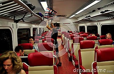 NYC: Mujer en carro del ferrocarril del Metro-norte Imagen de archivo editorial