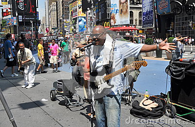 NYC: Musicians in Times Square Editorial Stock Image