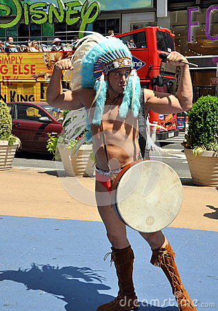NYC: The Naked Indian in Times Square Editorial Photo