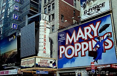 NYC: New Amsterdam Theatre and Billboards Editorial Stock Photo