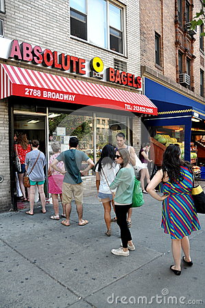 NYC: People Queue to Buy Bagels Editorial Photo
